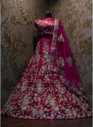 Buy Pink Dori Work Velvet Lehenga Choli And Dupatta Set