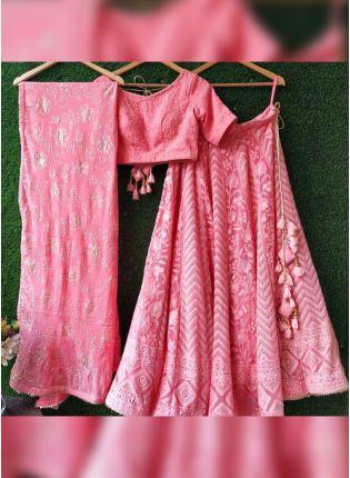 Trendy Pink Resham And Georgette Panelled Wedding Lehenga Choli