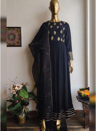 Trendy Black Zari And Georgette Casual Trouser Churidar Set