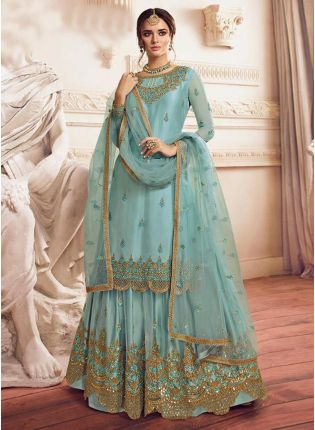 Purchase Mint Blue Pakistani Palazzo Salwar Suit For Wedding