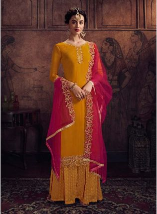 Mustard Yellow Color Georgette Fabric Palazzo Salwar Suit With Net Dupatta
