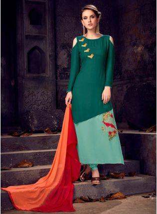 Top Fancy Look Designer Dark Green Color Salwar Kameez