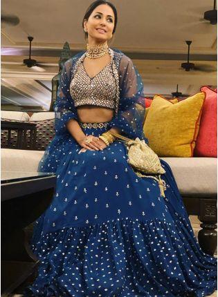 Iconic Elegant Royal Blue Ruffled Sequin Lehenga Choli