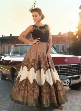 Buy Brown Designer Printed Raw Silk Gown With Brocade Border