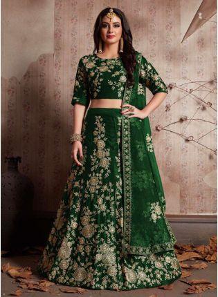 Trendy Green Dori Work Velvet Lehenga Choli And Dupatta Set