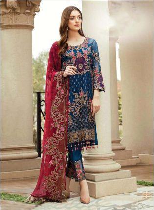 Navy Blue Color Soft Net Base Resham And Zari Work Pakistani Suit