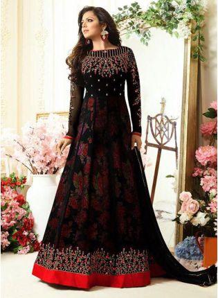 Buy Black Color Floral Printed Designer Salwar Kameez Suit