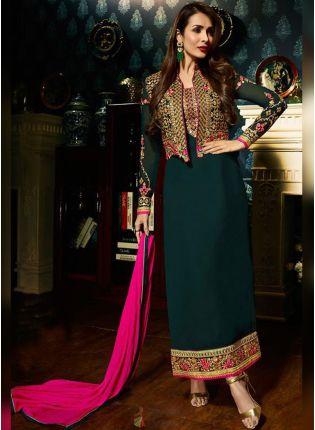 Purchase Dark Green Color Designer Salwar Kameez Suit