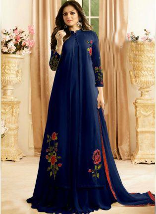 Top Royal Blue Color Designer Patry Wear Salwar Kameez Suit