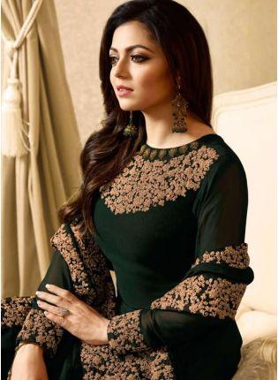 Iconic Dark Green Color Designer Heavy Embroidery Work Salwar Kameez Suit