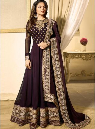 Best Purple Color Heavy Embroidered Work Designer Anarkali Suit
