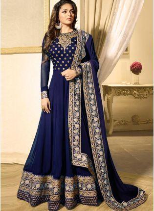Trendy Navy Blue Color Heavy Embroidered Work Designer Anarkali Suit