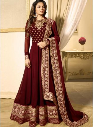 Purchase Maroon Color Heavy Embroidered Work Designer Anarkali Suit
