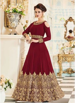 Buy Latest Maroon Color Designer Heavy Embroidered Gown