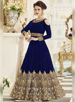 Purchase Latest Dark Blue Color Designer Heavy Embroidered Gown