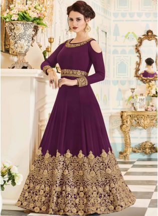 Best Latest Purple Color Designer Heavy Embroidered Gown
