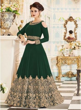 Affordable Latest Green Color Designer Heavy Embroidered Gown