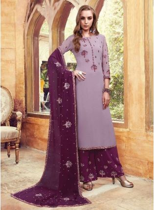 Trendy Purple Color Party Wear Heavy Embroidered Work Sharara Suit