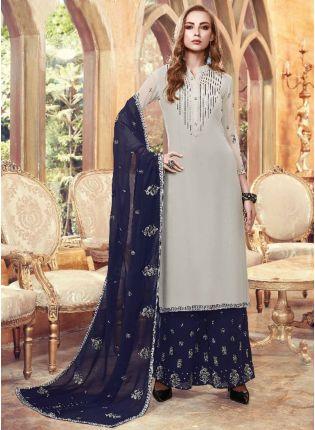 Top English Grey Color Georgette Base Designer Embroidered Sharara Suit
