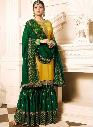 Top Glossy Yellow Color Wedding Wear Sharara Suit