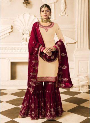 Shop Cream Color Wedding Wear Heavy Embroidered Sharara Suit