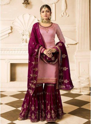 Purchase  Light Pink Color Wedding Wear Heavy Embroidered Sharara Suit