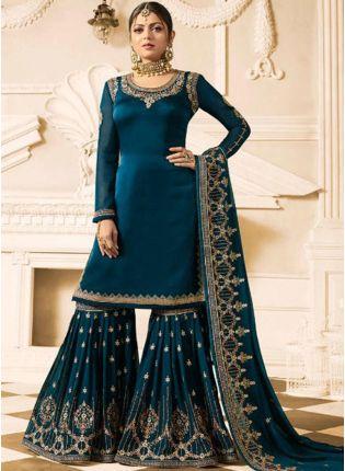 Best Stylish Heavy Designer Blue Color Sharara Suit