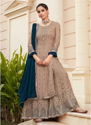 Beige Color Georgette Base With real Mirror Work Wedding wear Sharara Suit