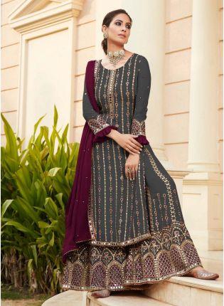 Splendid Dark Grey Color Georgette Base Heavy Work Designer Look Sharara Suit