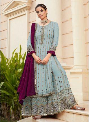 Elegant Sky Blue Color Georgette Base Heavy Work Designer Sharara Suit