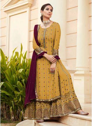 Eye-Captivating Yellow Color Georgette Base Designer Look Wedding Wear Sharara Suit