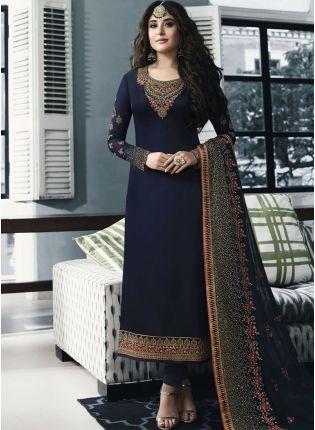 Trendy Navy Blue Color Party Wear Georgette Base Salwar Kameez Suit
