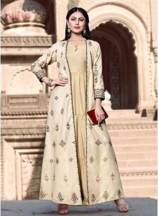 Decent Trending Designer Beige Color Western Wear Kuti