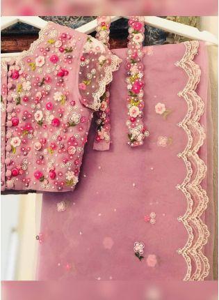 Buy Baby Pink Resham Moti Art Silk Embroidered Saree