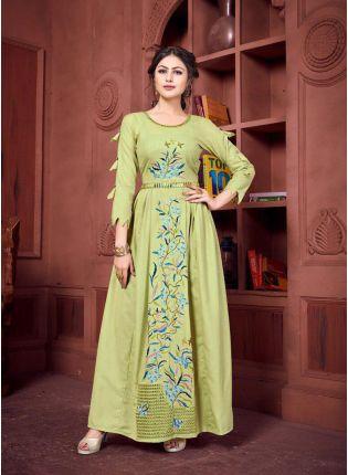 Shop Khakhi Color Designer Party Wear Kurti