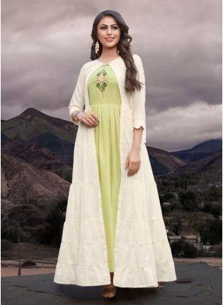 Stylish Tending White Color Cotton Base Designer Kurti