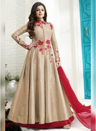 Iconic Effortless Beige Color Designer Wedding Wear Salwar Kameez Suit