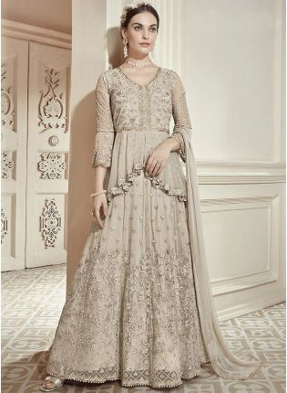 Stylish Beige Zari Work And Soft Net Anarkali Salwar Suit