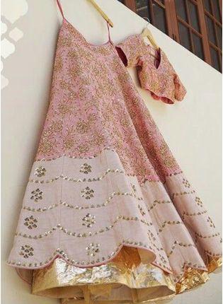 Iconic Peach Zari Sequin Raw Silk Panelled Lehenga Choli