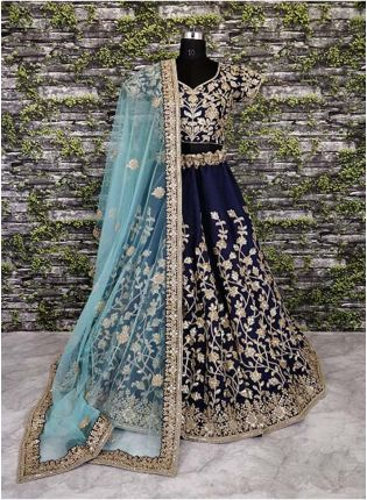 Splendid Navy Blue Banglori Silk Lehenga Choli With Applique Embroidery Work