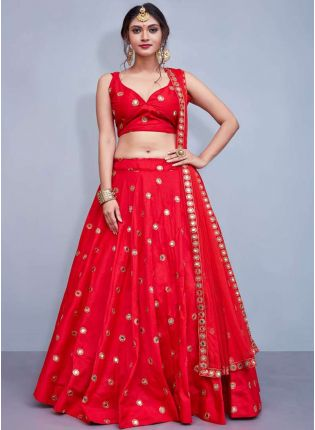 Iconic Delicate Red Heavily Embellished Mirror Work Designer Lehenga Choli