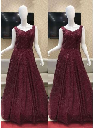 Sprinkle Pink Color Party Wear Look Gown