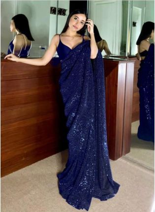 Glitzy Navy Blue Color Sequins Saree With Silk Blouse