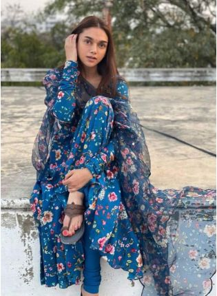 Bollywood Style Blue Color Designer Digital Print Gown With Dupatta