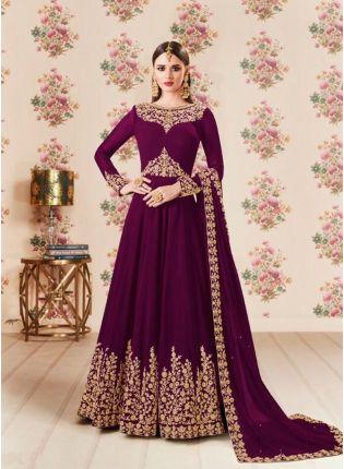 Best Wine Color Party Wear Georgette Base Heavy Embroidery Work Anarkali Suit