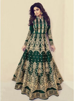 Iconic Bottle Green Color Silk Base Wedding Wear Heavy Embroidery Work Gown