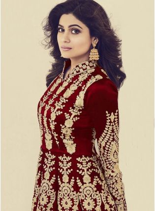 Affordable Maroon Color Silk Base Wedding Wear Heavy Embroidery Work Gown