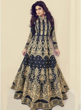 Iconic Navy Blue Color Silk Base Wedding Wear Heavy Embroidery Work Gown
