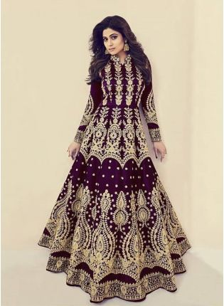 Decent Wine Color Silk Base Wedding Wear Heavy Embroidery Work Gown