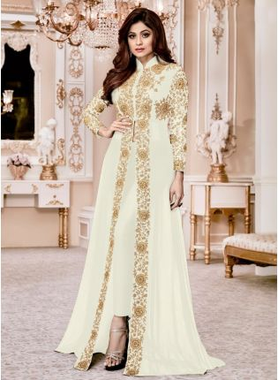 Attractive Off-White Georgette Base Slit Cut Suit Embroidered Work